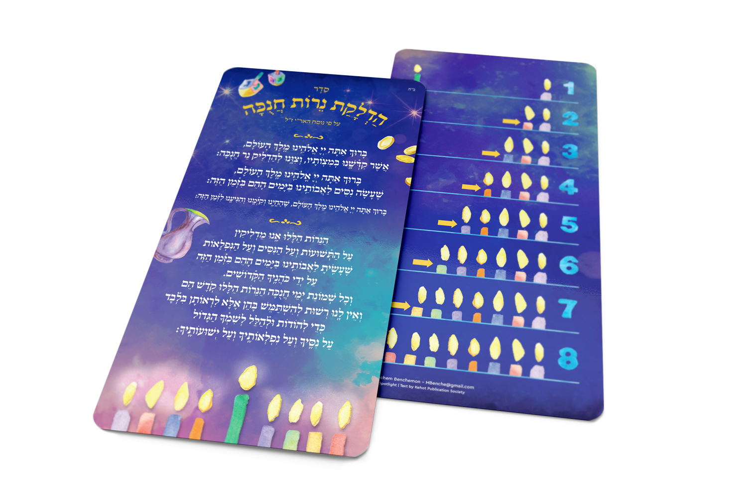 Seder Hadlakat Nerot Chanukah - Laminated Chanukah Card