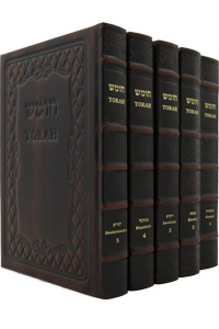 Torah Chumash 5 Vol's Leather Cover Slipcased