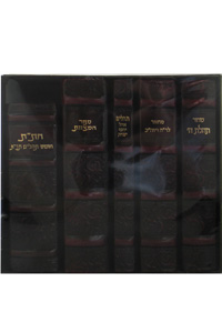 Machzor Annotated Set Leather Cherry  5.5 x 8.5