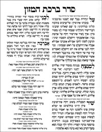 Seder Birchat Hamazon - large laminated card